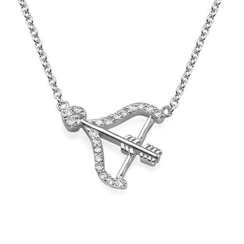 Bow and Arrow Necklace with Cubic Zirconia