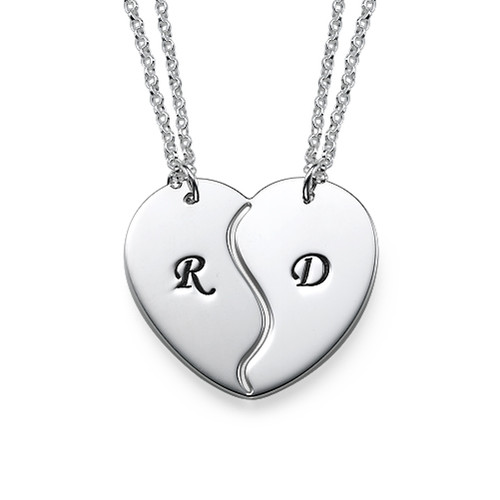 Breakable Heart Necklaces with Initial Engraving
