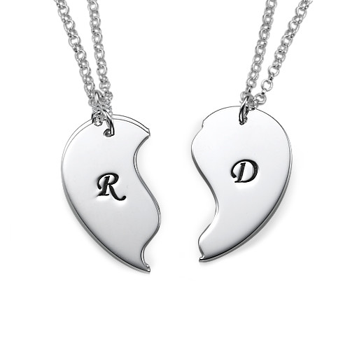 Breakable Heart Necklaces with Initial Engraving - 1