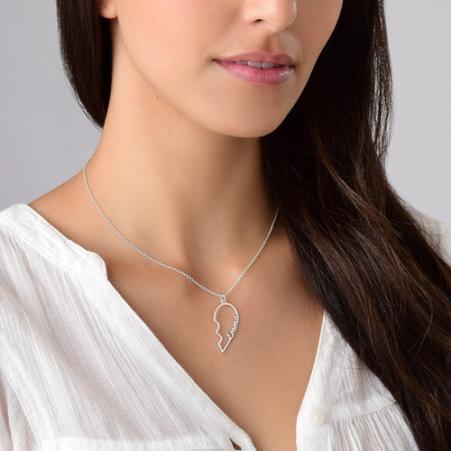 Broken Heart Name Necklace for Couples - 2