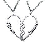 Broken Heart Name Necklace for Couples