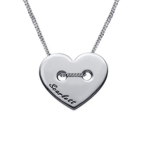Button Heart Necklace with Engraving