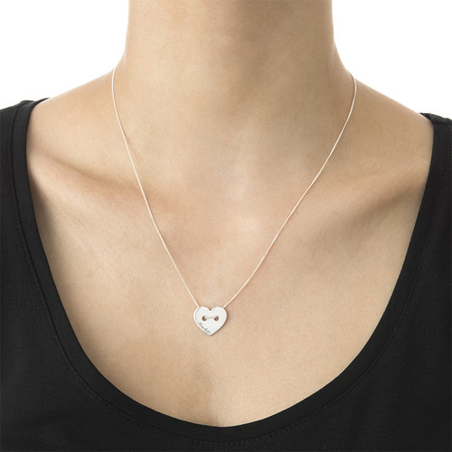 Button Heart Necklace with Engraving - 1