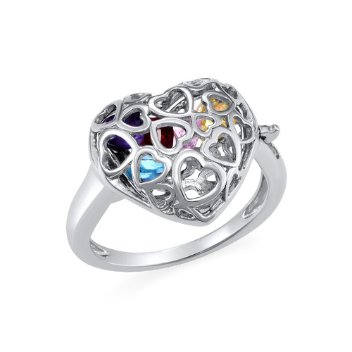 Caged Heart Ring with Birthstones