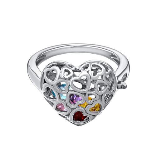 Caged Heart Ring with Birthstones - 1