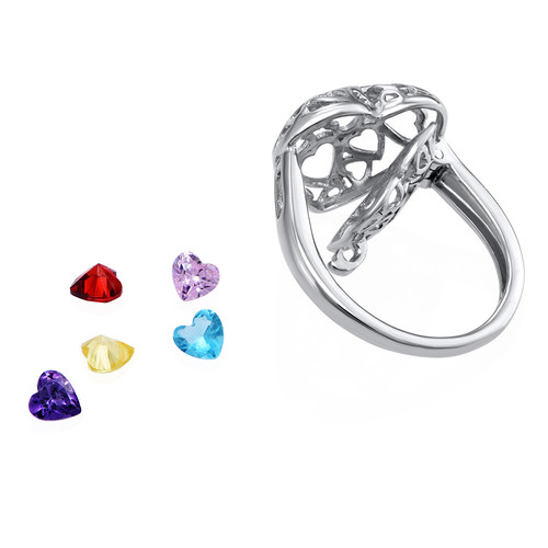 Caged Heart Ring with Birthstones - 2