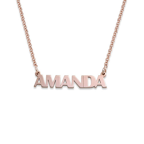 Capital Letters Name Necklace with 18K Rose Gold Plating