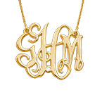 Celebrity Monogram Necklace Gold Plated with Diamond