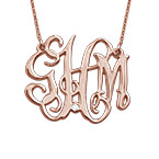 Celebrity Monogram Necklace Rose Gold Plated with Diamond