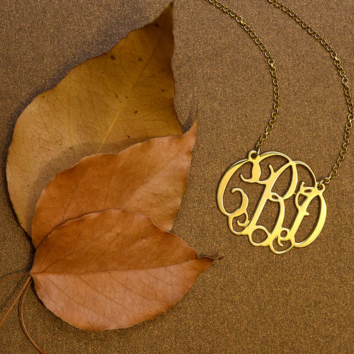 Celebrity Monogram Necklace in 18k Gold Plating - 2