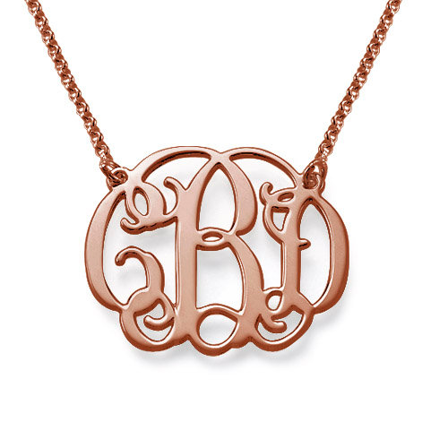 Rose Gold Plated Celebrity Monogram Pendant