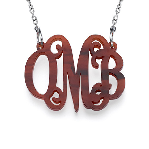 Celebrity Monogram Necklace in Acrylic