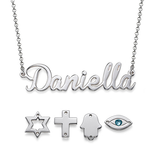 Charm Name Necklace in Sterling Silver