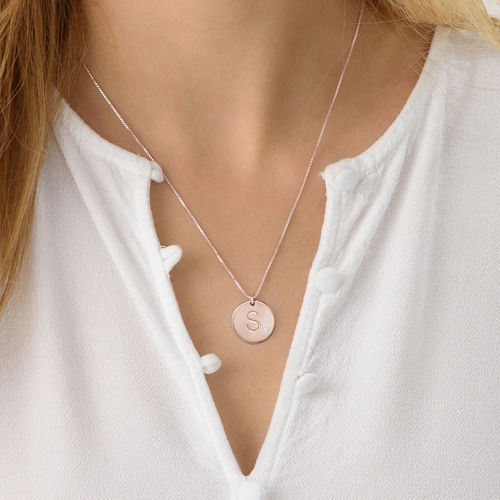 Charm Necklace with Initial Rose Gold Plated with Diamond - 2