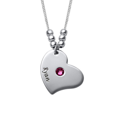 Children Heart Name Necklace with Birthstones - 1