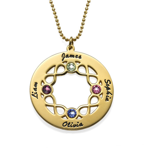 Circle Birthstone Necklace with Infinity Symbols - Gold Plated