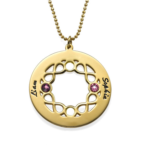 Circle Birthstone Necklace with Infinity Symbols - Gold Plated - 1