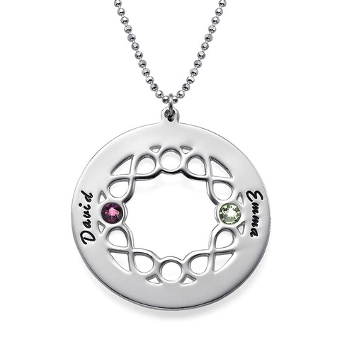 Circle Birthstone Necklace with Infinity Symbols - 1
