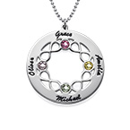 Circle Birthstone Necklace with Infinity Symbols