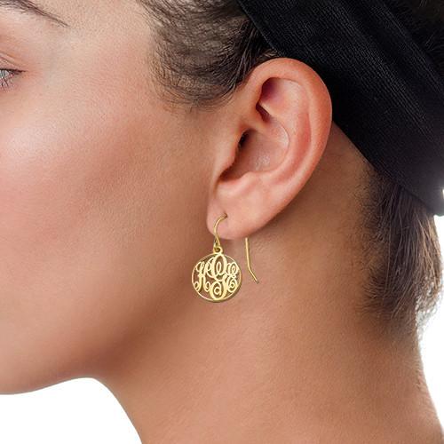 Circle Monogrammed Earrings in 18k Gold Plating - 1