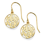Circle Monogrammed Earrings in 18k Gold Plating
