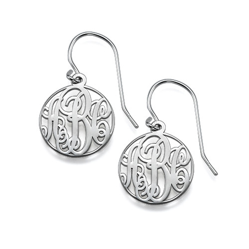 Circle Monogrammed Earrings in Silver
