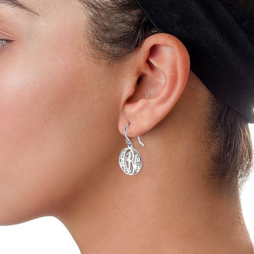 Circle Monogrammed Earrings in Silver - 1