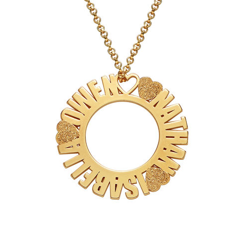 cb57277da1baf Circle Name Necklace in Gold Plating with Diamond Effect