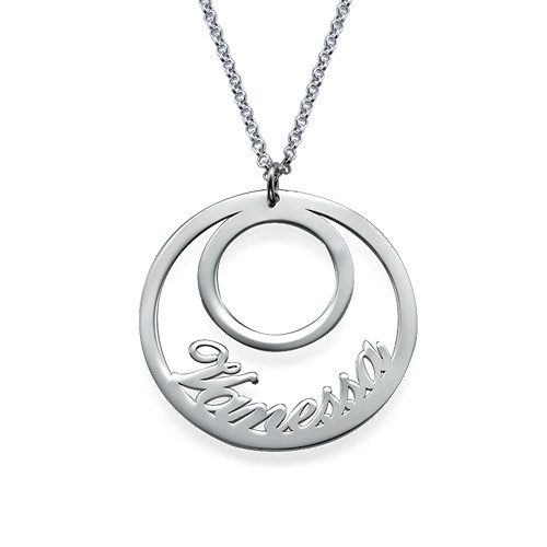 Circle Name Necklace in Silver