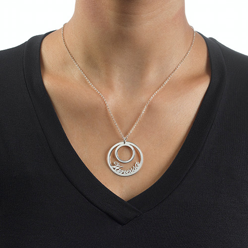Circle Name Necklace in Silver - 1