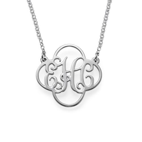 Clover Monogram Necklace in Silver