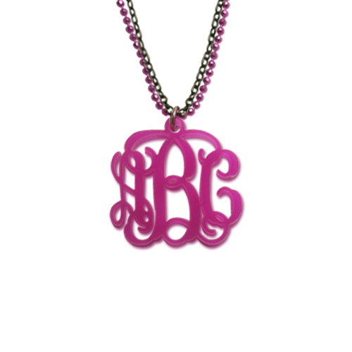 Color Monogram Pendant Necklace with Double Chain
