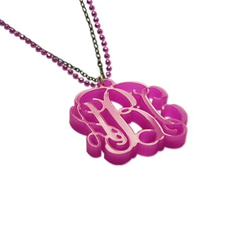 Color Monogram Pendant Necklace with Double Chain - 1