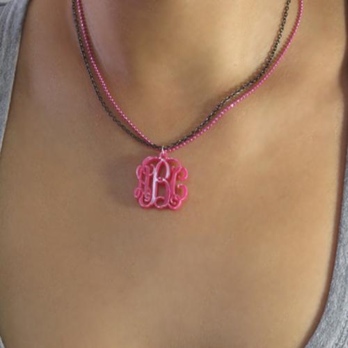 Color Monogram Pendant Necklace with Double Chain - 2