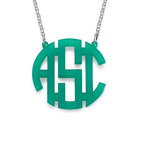 colorful acrylic block monogram necklace