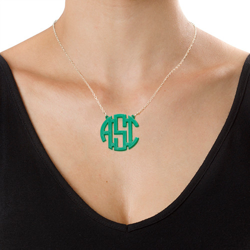 Colorful Acrylic Block Monogram Necklace - 1