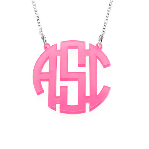 Colorful Acrylic Block Monogram Necklace - 2