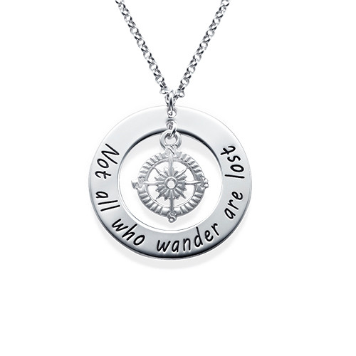 Compass Necklace With Engraved Disc Mynamenecklace