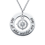 Compass Necklace with Engraved Disc