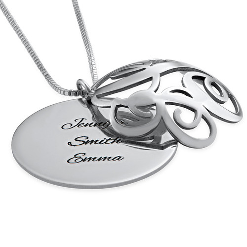 Contoured Filigree Monogrammed Necklace in Silver - 2