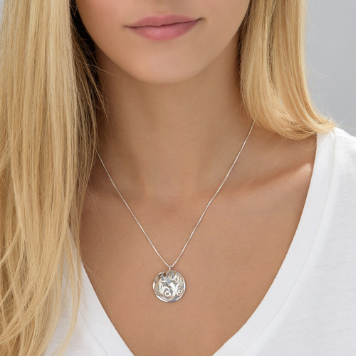 Contoured Filigree Monogrammed Necklace in Silver - 3