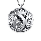 Contoured Filigree Monogrammed Necklace in Silver