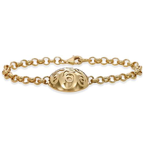 Contoured Monogram Bracelet in Gold Plating - 1