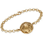 Contoured Monogram Bracelet in Gold Plating