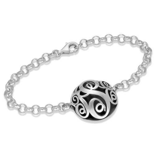 Contoured Monogram Bracelet in Silver