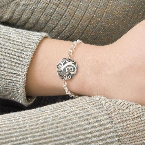 Contoured Monogram Bracelet in Silver - 3