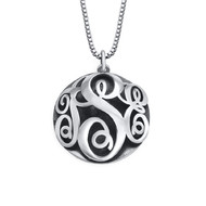Contoured Monogram Necklace in Sterling Silver