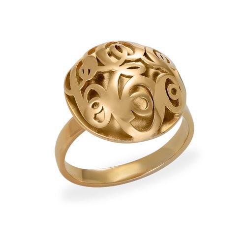 Contoured Monogram Ring in Gold Plating