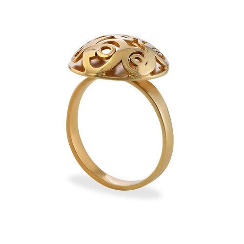 Contoured Monogram Ring in Gold Plating - 1