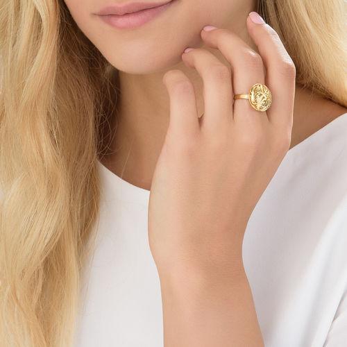 Contoured Monogram Ring in Gold Plating - 2